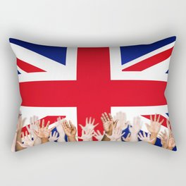 BRITISH FLAG WITH PEOPLE OF ALL COLOR Rectangular Pillow