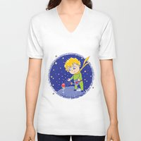 little prince V-neck T-shirts featuring Little Prince by Bruna Sousa