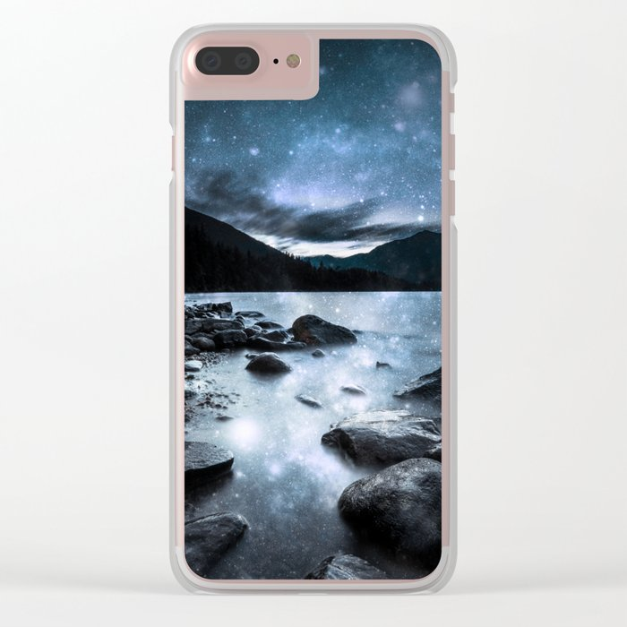 Magical Mountain Lake Steel Blue Gray Clear iPhone Case