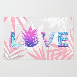 Love Pineapple Typography Tropical Boho Summer Vibes Rug