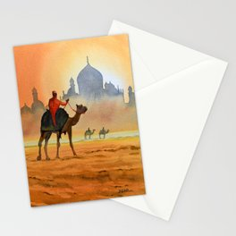 Camel Riders Alongside the Taj Mahal Stationery Cards