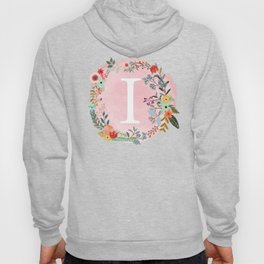 Flower Wreath with Personalized Monogram Initial Letter I on Pink Watercolor Paper Texture Artwork Hoody