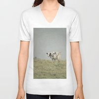 cows V-neck T-shirts featuring Moo Cows by Pure Nature Photos