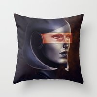 mass effect Throw Pillows featuring Mass Effect: EDI by Ruthie Hammerschlag