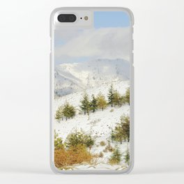 Snow mountains. Retro forest Clear iPhone Case