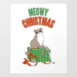 Meowy Christmas Cat Clawed Present T-Shirt Merry xmas Art Print