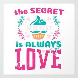 Baking Chef Hat Flour Rolling Pin Snack Cake Baking Food Oven Bake Cupcake T-shirt Design Art Print
