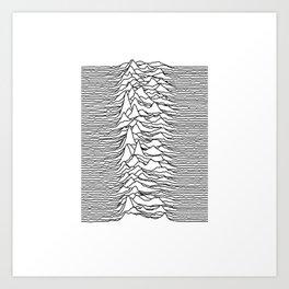 Joy Division - Unknown Pleasures (Black Lines) Art Print