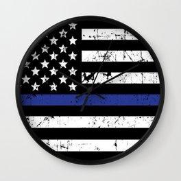 Police Thin Blue Line Flag Wall Clock