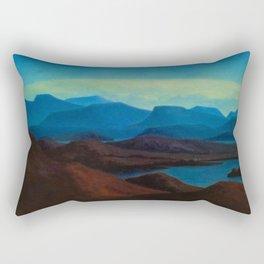 Icelandic Dreams, Nordic alpine blue mountain landscape by Thorarinn Thorlaksson Rectangular Pillow