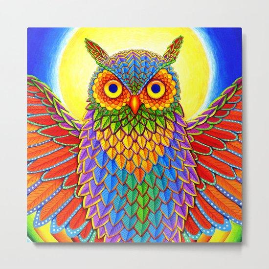 Psychedelic Rainbow Owl Metal Print