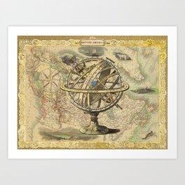 Vintage nautical compass and map illustration Art Print