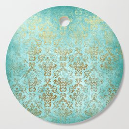 Mermaid Gold Aqua Seafoam Damask Cutting Board