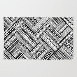 Tribal Ethnic Style  Black & White Rug