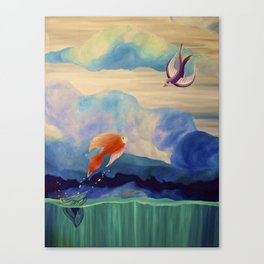 a fish may love a bird but where would they live..... Canvas Print