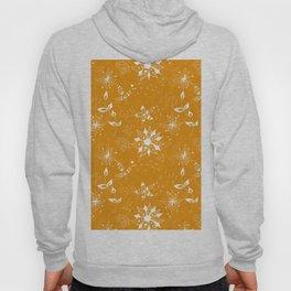 White floral doodles on orange Hoody