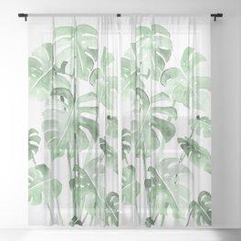 Delicate Monstera Green #society6 Sheer Curtain