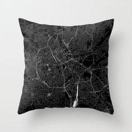 Nashville Black Map Throw Pillow