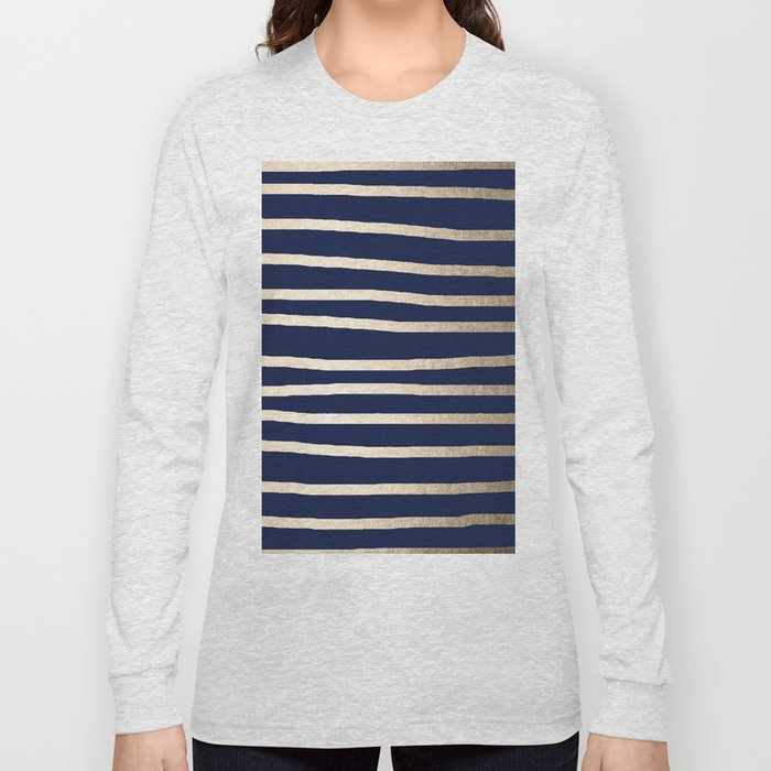 Drawn Stripes White Gold Sands on Nautical Navy Blue Long Sleeve T-shirt