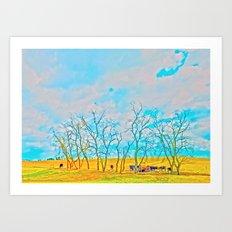 Blue Light Farm Art Print