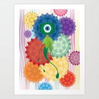 Between The Flowers Art Print
