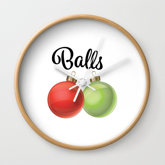 Funny Christmas Graphic Balls Ornaments Wall Clock By Cayennegypsy
