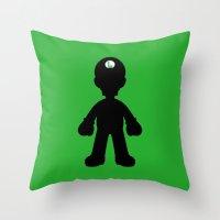 luigi Throw Pillows featuring Luigi  by Jessica Wray