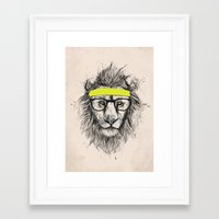 hipster lion Framed Art Prints featuring Hipster lion (light version) by Balazs Solti