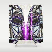 dark side Shower Curtains featuring Dark Side by Just Bailey Designs .com