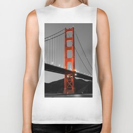 Golden Gate Bridge in Selective Black and White Biker Tank