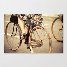 Pedaling happily Canvas Print
