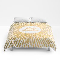 Comforters featuring Hello Sunshine Gold by terralogy