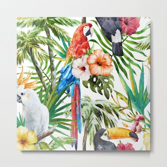Tropical Bird Pattern 06 Metal Print