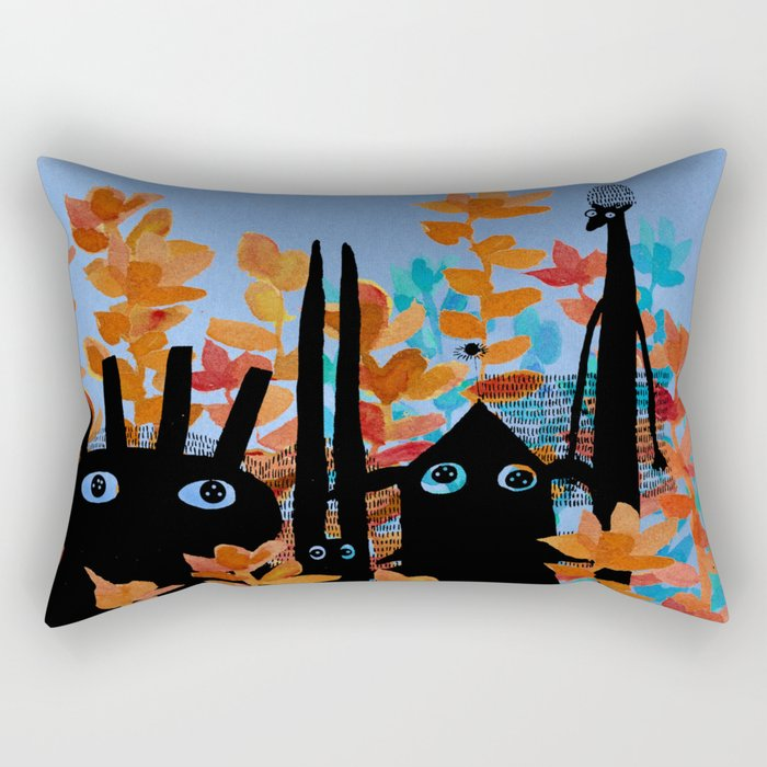 forest gang at night Rectangular Pillow