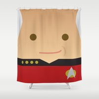 picard Shower Curtains featuring Captain Picard by Sam Del Valle
