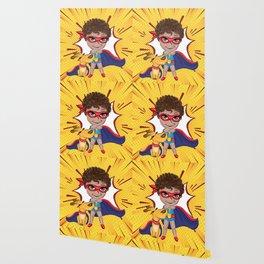 Super Boy Comic Pattern Wallpaper