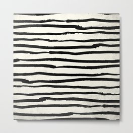 Tribal Stripes Black Earth on Ivory Cream Metal Print