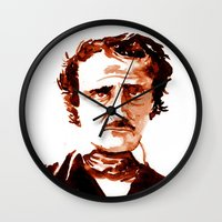 poe Wall Clocks featuring Poe by Doug Slack