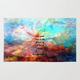 The good man is the friend of all living things Gandhi Inspirational Quote Rug