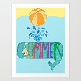 Whale summer Art Print
