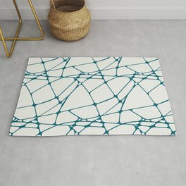 Tropical Dark Teal Abstract Mosaic Pattern 1 Inspired by Sherwin Williams 2020 Trending Color Oceanside SW6496 on Off White Rug