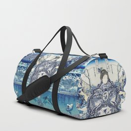 Chinoiserie Blue Scene Geisha Girl Duffle Bag