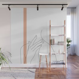 Hands line drawing illustration - Danna stripe Wall Mural