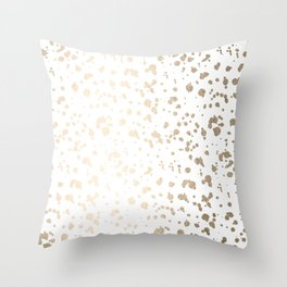 Luxe Gold Painted Dots on White Throw Pillow