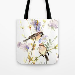 Sparrows and Spring Blossom Tote Bag