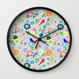 Whimsical Spring Flowers in Grey Wall Clock
