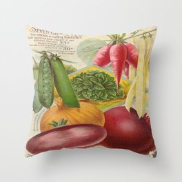 Vintage poster - Seven Grand Vegetables Throw Pillow