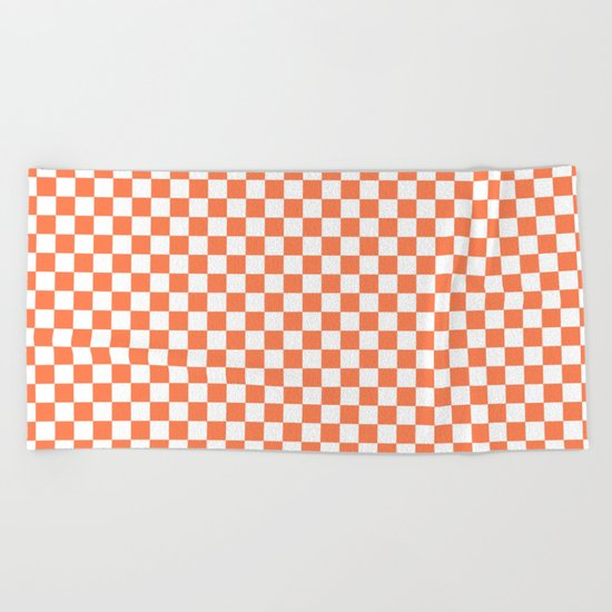 Checker (Coral/White) Beach Towel