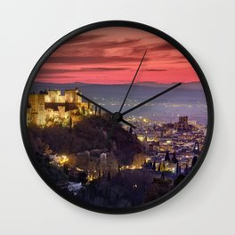 The Alhambra Palace, Cathedral and and Granada at sunset. Winter. Wall Clock