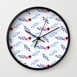 Floral Watercolor Pattern Pink Flowers Wall Clock